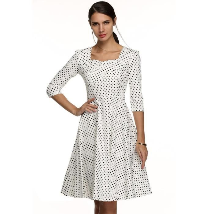 Femmes Robe Elegantes Col Carre Manches 3 4 Taille Haute Points Imprimer Casual Blanc Achat Vente Robe Cdiscount