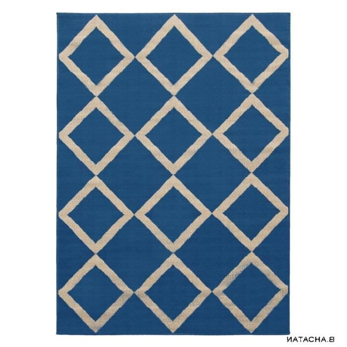 tapis scandinave oslo bleu et taupe taille 80 x 150 cm achat vente tapis cdiscount. Black Bedroom Furniture Sets. Home Design Ideas