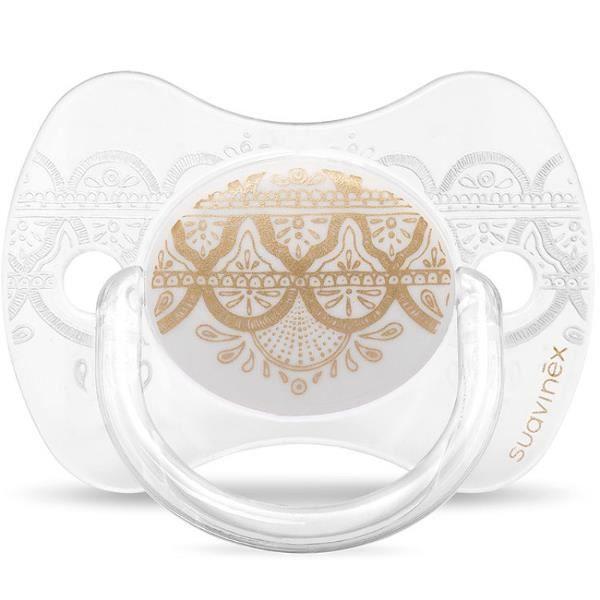 Suavinex Sucette ETHNIC SILICONE REVERSIBLE 0//4M Blanc