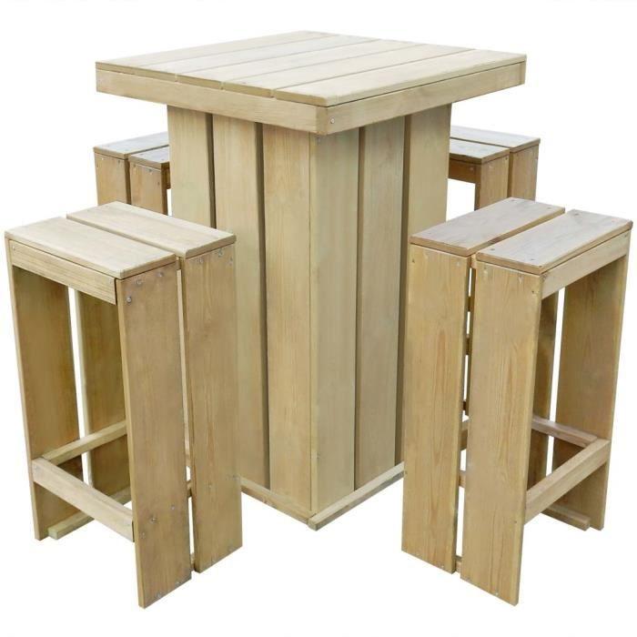 Meuble D Exterieur 5 Pcs 75x75x110 Cm Bois De Pin Impregne Fsc Achat Vente Ensemble Table Et Chaise De Jardin Meuble D Exterieur 5 Pcs Cdiscount