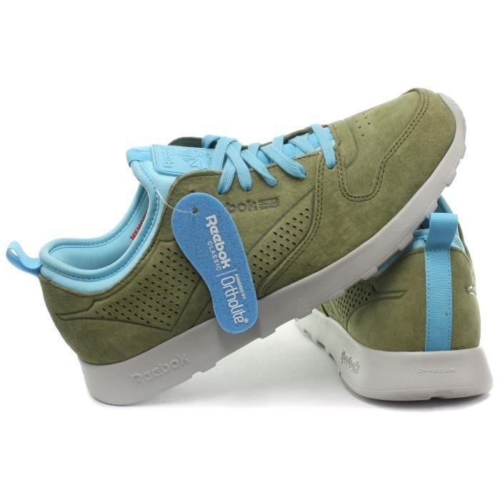 Reebok Classic CL Leather Lite SD Homme Baskets / Sneakers, Vert, Pointure