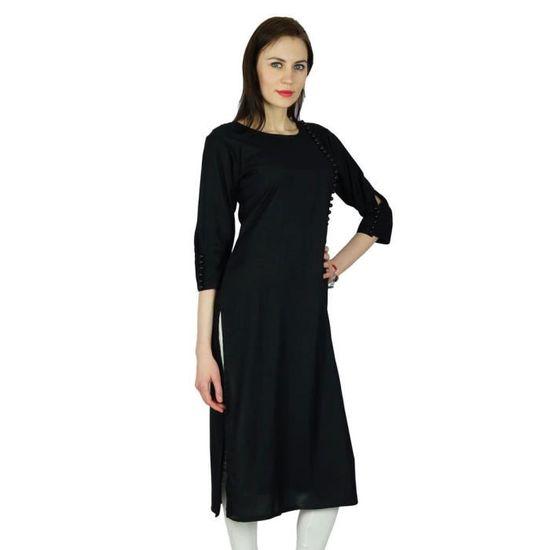 Bimba Femmes Style Classique Chic Kurta Noir Kurti Manches 3//4 V/êtements Formels