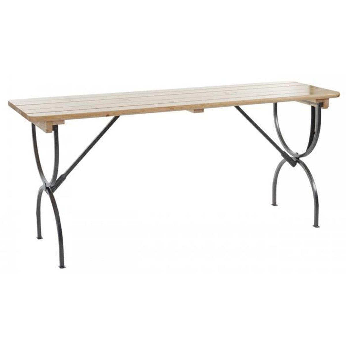 Table jardin bois et metal