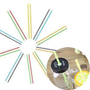 SOMESUN 25pcs Color/é R/éutilisable Pailles Famille Cuisine Table /à Manger Essentielle Plastique Dur Stripes Pailles with Brosse /à Paille