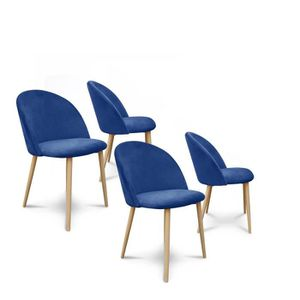CHAISE  Lot de 4 chaises style scandinave Agathe velours