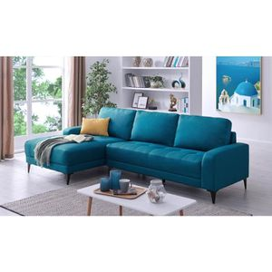 MÉRIDIENNE Canapé d'angle avec méridienne en tissu bleu LOHAN