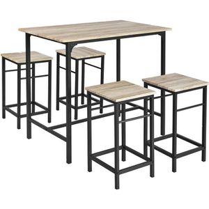 MANGE-DEBOUT JEOBEST® Ensemble table de bar bistrot + 4 taboure