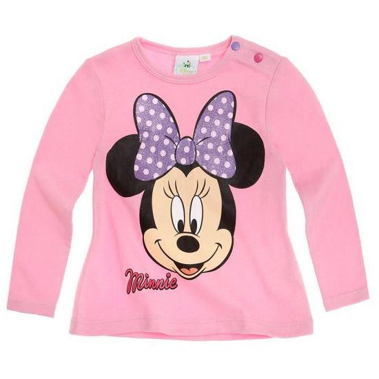 Minnie T-Shirt Manches Longues b/éb/é Fille Gris de 3 /à 24mois