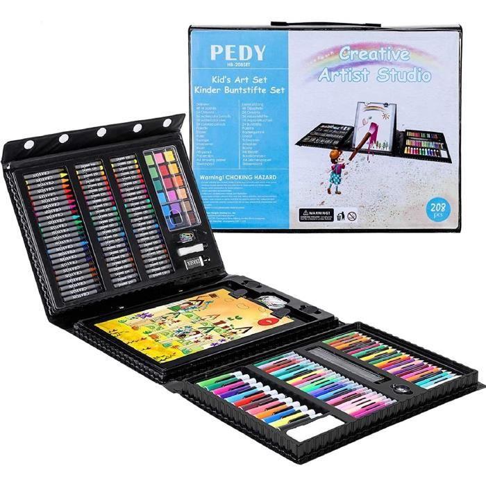 PEDY 208 Pcs Mallette Dessin, Set de Dessin Efant, Mallette de Coloriage, Crayons de Couleur, Coffret Dessin, Accessoires de Dessin,