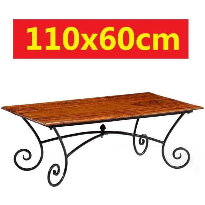Table basse en Bois de Sheesham Massif 110x60cm pieds enroulées effet fer forgé salon