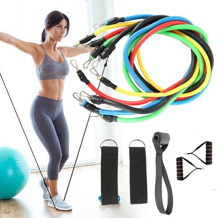 11 pièces-ensemble Fitness traction corde bandes de résistance Latex force équipement de gymnast - Modèle: as photo - HSJSTLDA04267