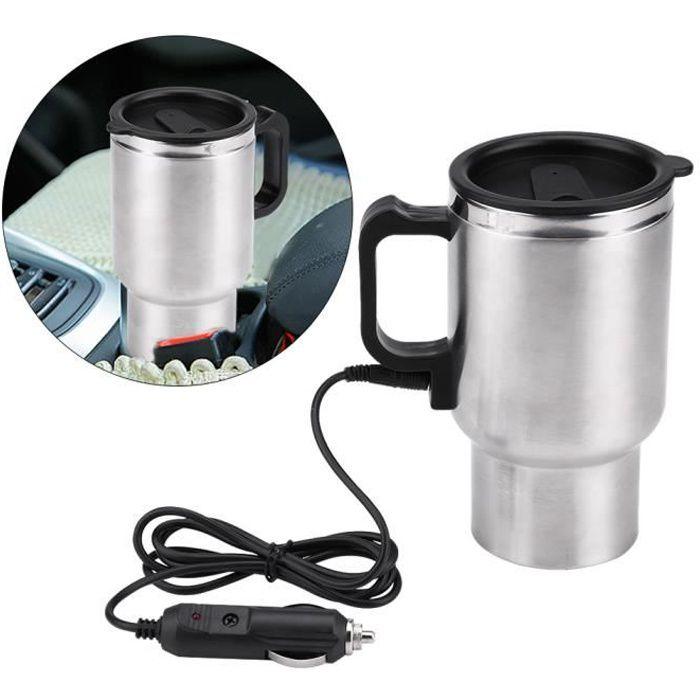 Fdit Bouilloire électrique Tasse de chauffage de voyage en acier inoxydable de voiture électrique 12V 450 ml