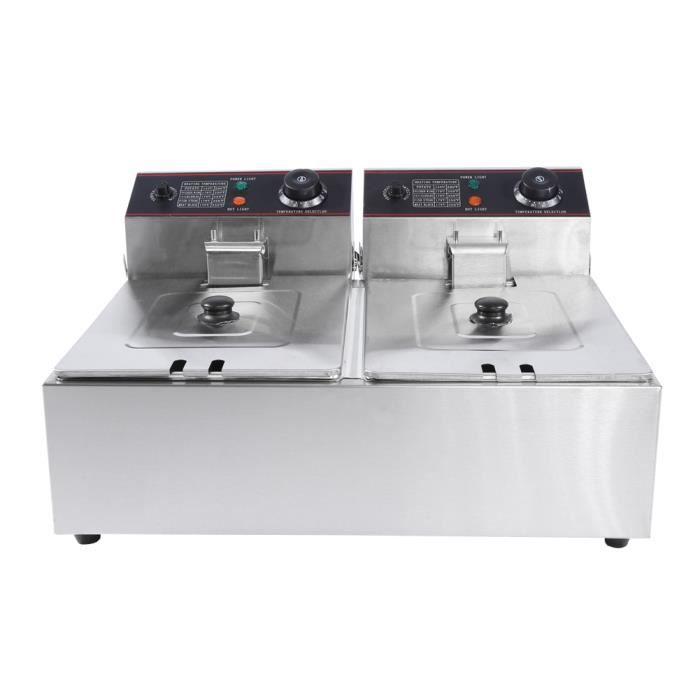 Tbest Poêle à frire Friteuse électrique DeepTank Double DeepTank en acier inoxydable professionnel 12L