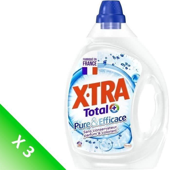 X•TRA TOTAL+ Lessive Pure et Efficace - 1,95 L - Lot de 3
