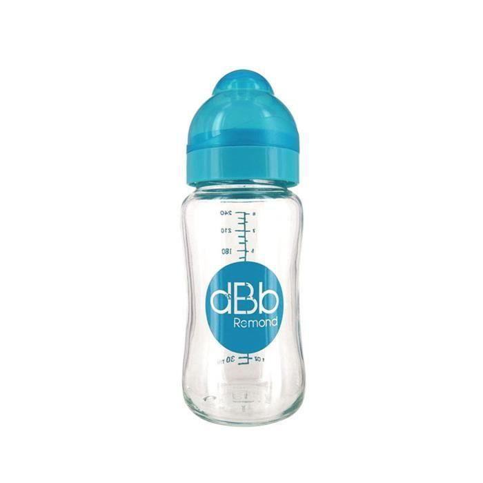 DBB REMOND Biberon Lo Verre 240 Ml Tétine Silicone 0-4 Mois System Turquoise Translucide S/Bte (Lot de 3)