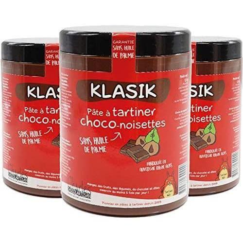Lot de 3 pots de pâte à tartiner chocolat lait noisettes sans huile de palme Klasik - 3x1,1 kg