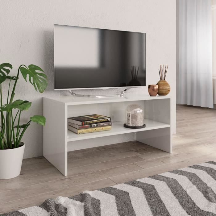 Duokon Meuble TV Blanc brillant 80 x 40 x 40 cm Aggloméré-FAS