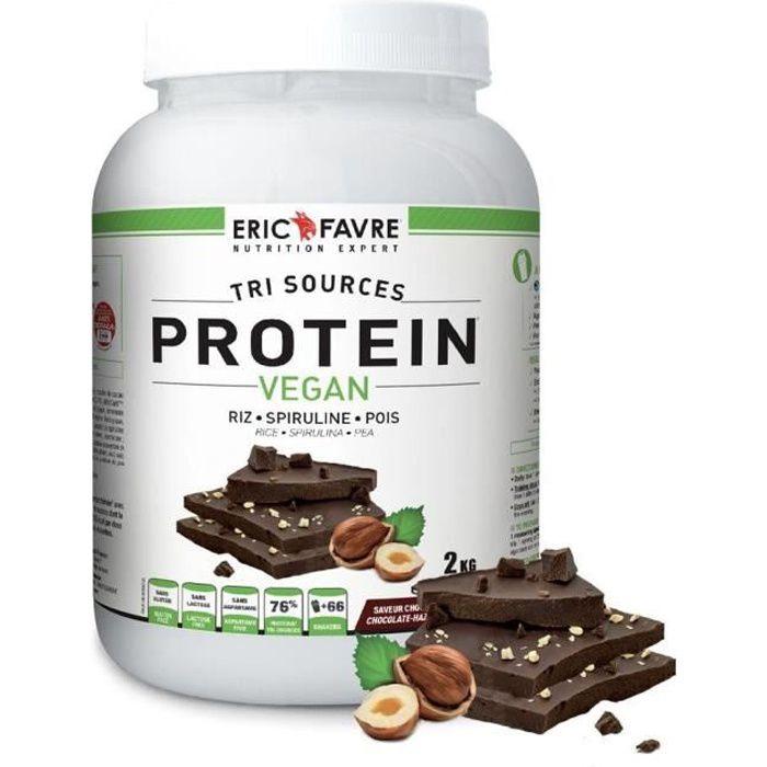 Eric Favre - Protéines Vegan, Proteine végétale tri-sources - Proteines - Chocolat /Noisette - 750g