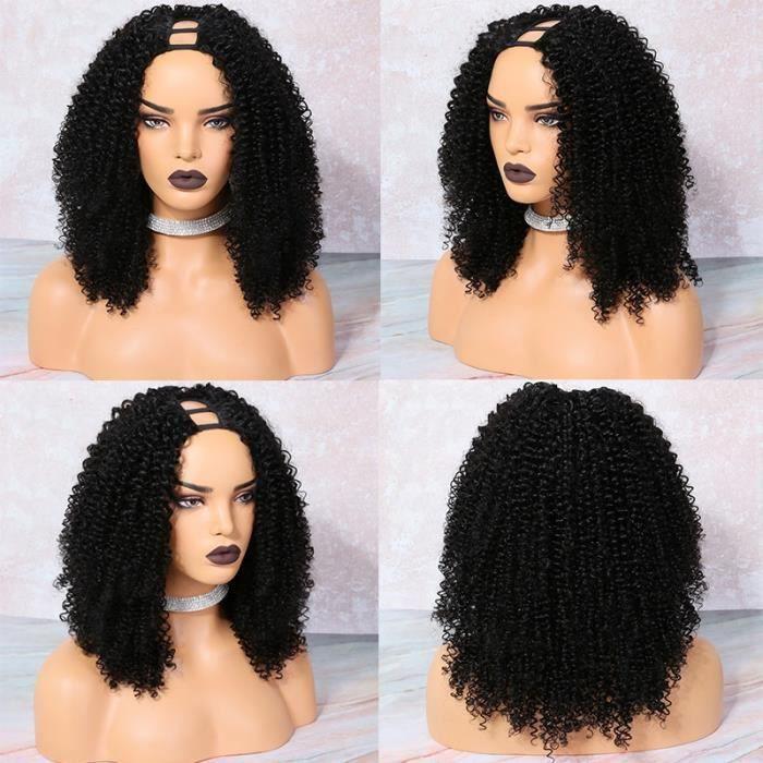 10'' Vierge crépus bouclés perruque U partie perruque cheveux humains brésilien 2x4 U partie cheveux humains perruque
