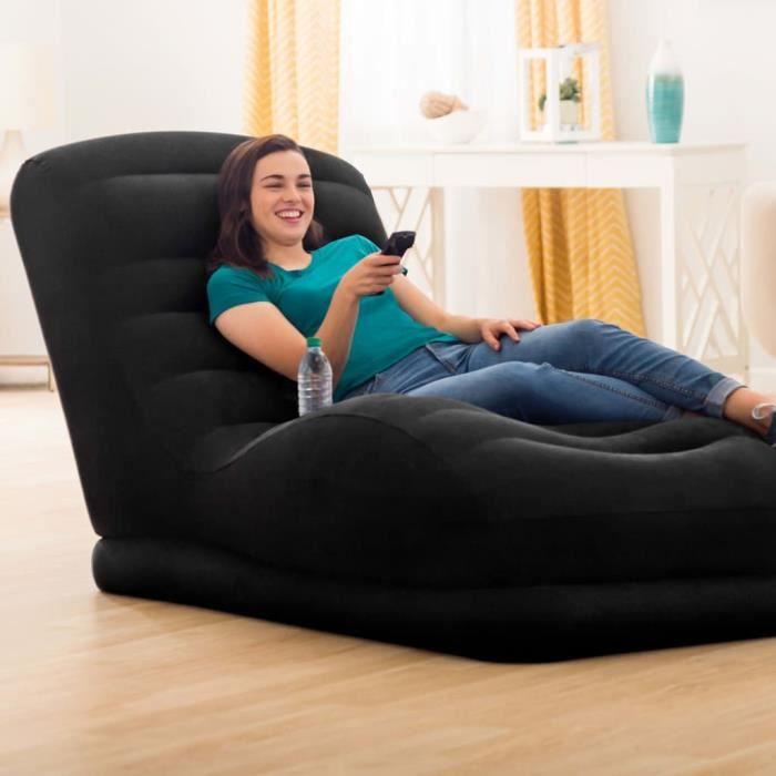 Intex Chaise longue grande gonflable Noir Similicuir