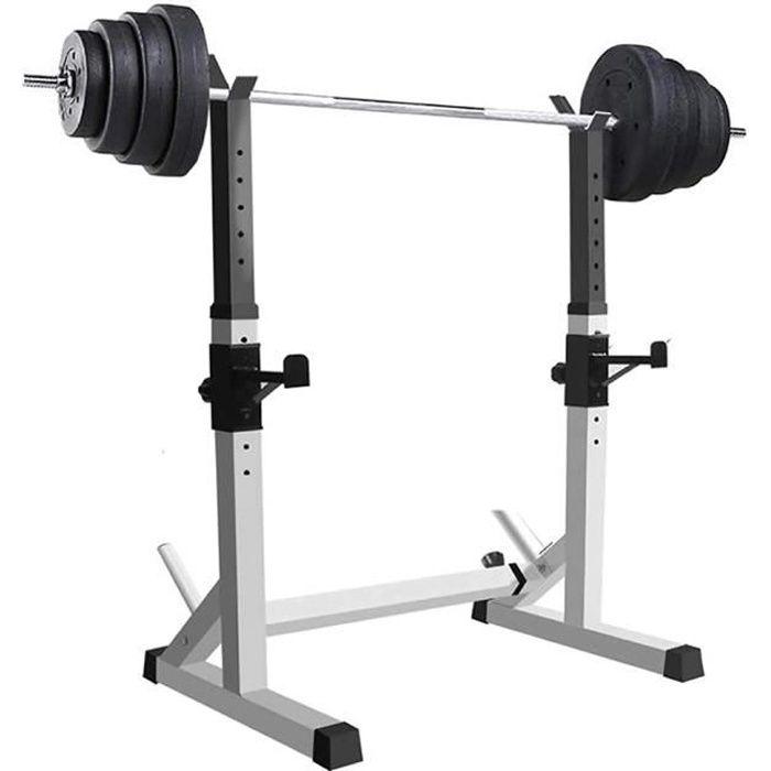 JEOBEST® Cage de Squat, Charge Max.200kg, Support de Squat Réglable Squat Rack, Réglable en Hauteur 80-150 cm