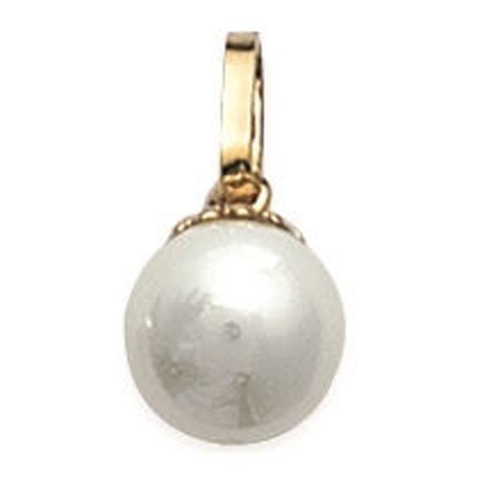 Pendentif Plaqué Or - Perle Synthétique Couleur Crème - Diamètre 8 mm