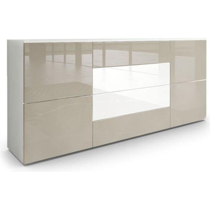 Buffet moderne gris sable et blanc avec façades laquées et structure mat