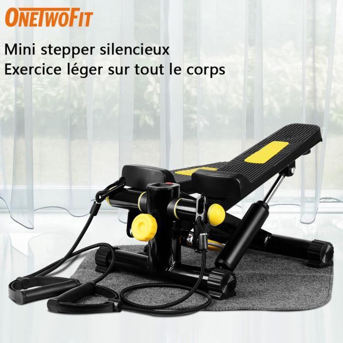 OneTwoFit Mini Stepper équipement d'exercice avec bandes de résistance et action de torsion OT152