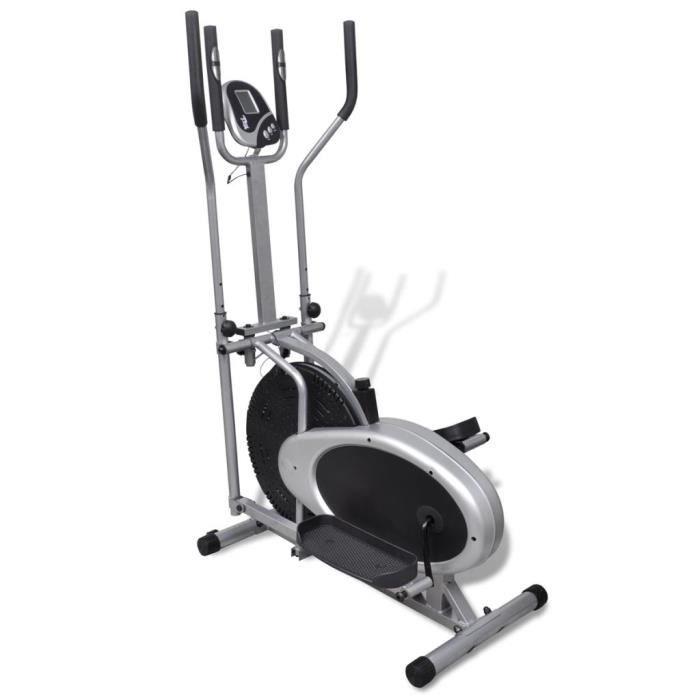 Vélo elliptique magnétique crosstrainer Vélo d'appartement Cardio 4 poteaux Pouls