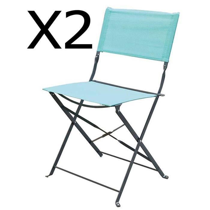 Lot de 2 chaises pliantes de jardin en acier et textilène, coloris mint