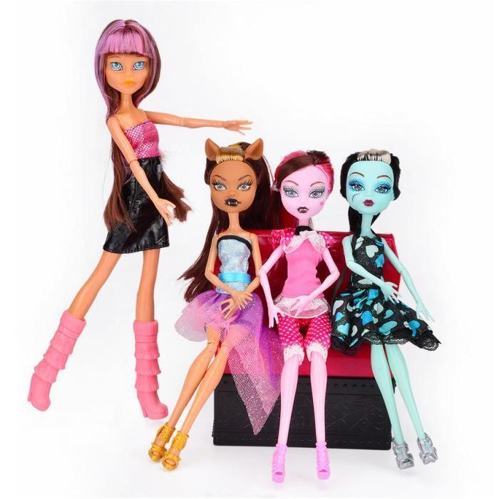 4PCS Créative Monster High poupée modèle Action Figure Enfants Cadeaux pour Enfant NOEL 28CM