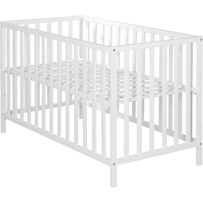 ROBA Lit d'enfant -Cosi- 60x120 cm, en bois de hêtre massif, couleur blanche, réglable sur 3 hauteurs