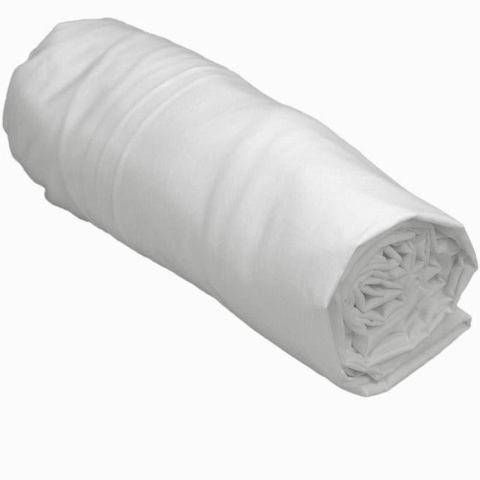 Drap housse Satin de Coton 120 Fils UNI VERSAILLES - Sensei La Maison du Coton - Blanc - Taille : 140x190