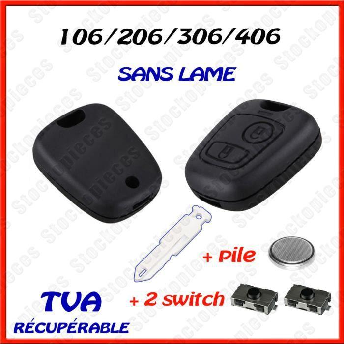 KIT REPARATION CLE COMPATIBLE PEUGEOT 206 206 CC 206 SW 206+ 2 SWITCH BOUTON + PILE