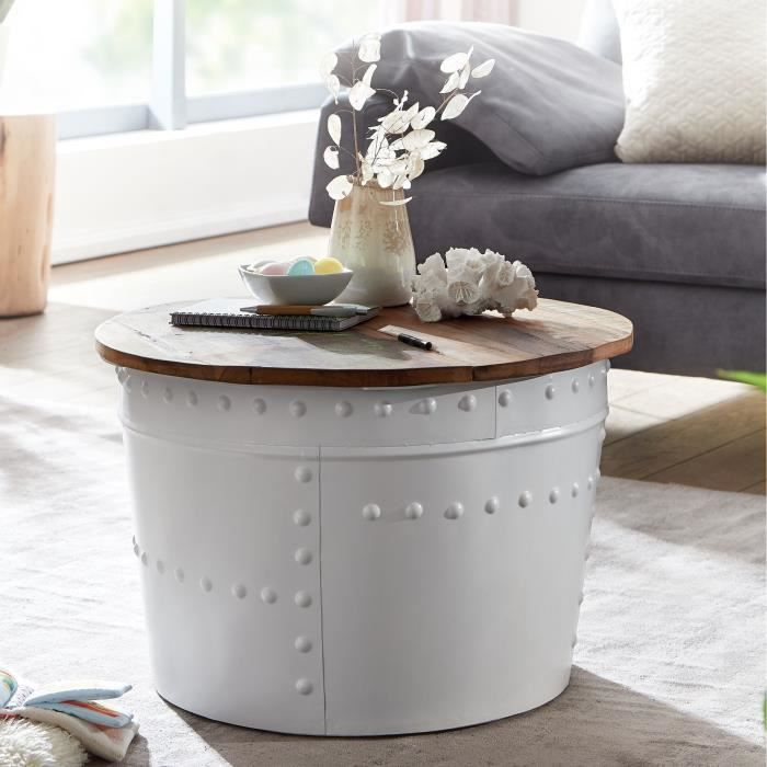 WOHNLING basse WOHNLING table basse bois massif Ø 60 cm table basse ronde blanche