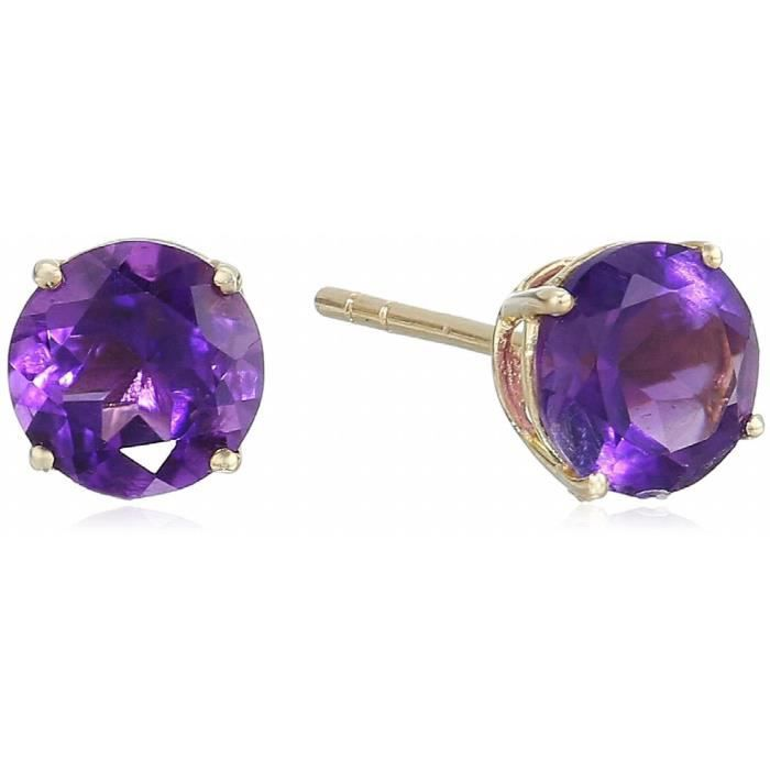 Craze 10k Yellow Gold African Amethyst Round Stud Earrings WGL53
