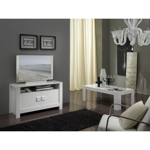 Ensemble 2 v l ments laque blanc meuble t l table for Table basse tele