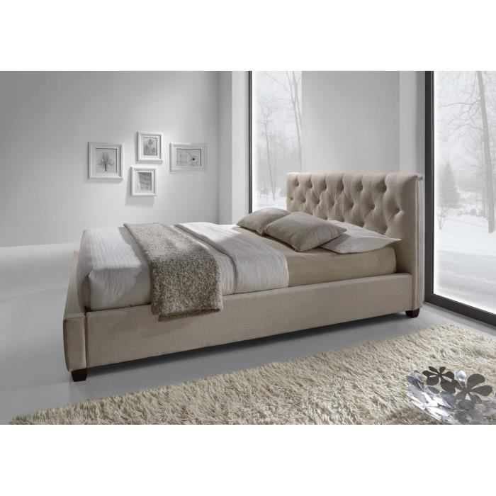 lit design botiqua tissu beige sommier 160x200cm achat. Black Bedroom Furniture Sets. Home Design Ideas