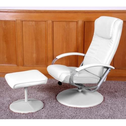 Fauteuil relaxation N44 similicuir blanc Achat Vente fauteuil