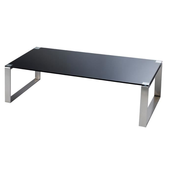 table basse rectangulaire en verre noir et inox achat vente table basse table basse. Black Bedroom Furniture Sets. Home Design Ideas
