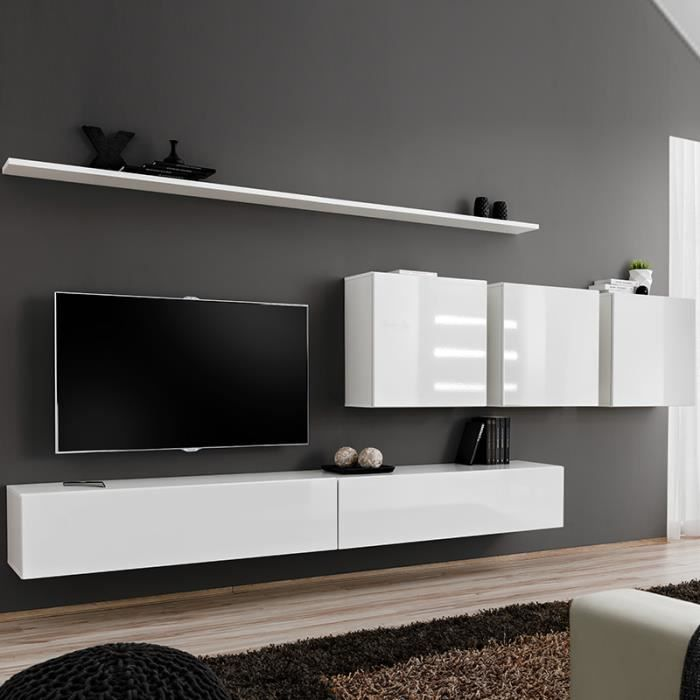 MEUBLE TV Meuble télé suspendu blanc ANSELMO 3 L 340 x P 40