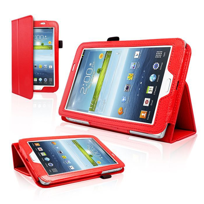 Etui coque rouge samsung galaxy tab 3 70 tablette housse for Housse galaxy tab a6