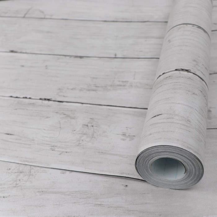 Hode Papier Adhesif Pour Meuble Bois Blanc 45x300cm Autocollant Amovible Bois Peel And Stick Papier Peint Decoratif Film Interieur