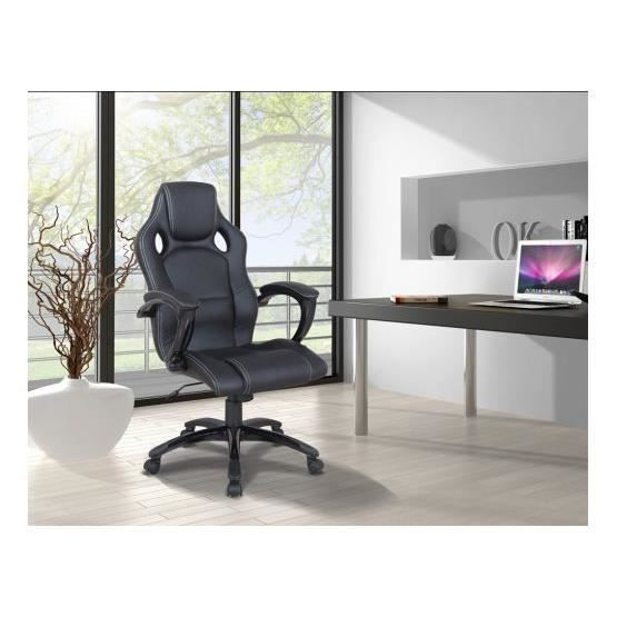si ge de bureau design carl noir achat vente chaise de bureau noir cadeaux de no l cdiscount. Black Bedroom Furniture Sets. Home Design Ideas
