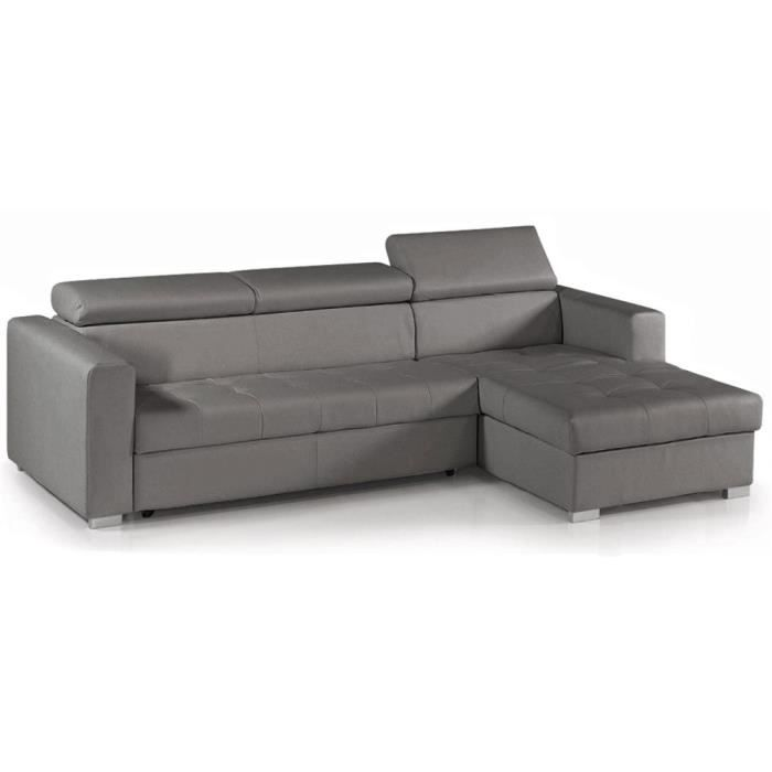 canap d 39 angle convertible reversible cuir gris coffre alisa achat vente canap sofa. Black Bedroom Furniture Sets. Home Design Ideas