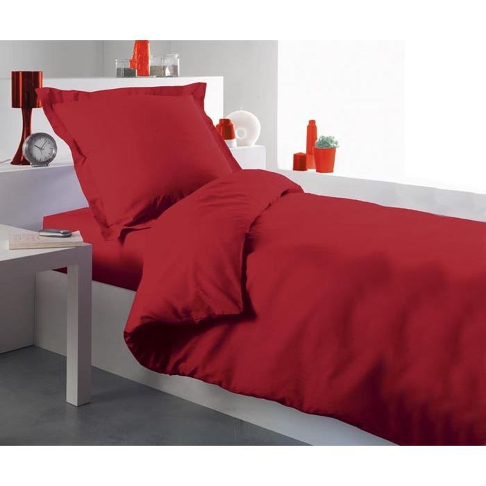 housse de couette 140x200 lit uni rouge achat vente housse de couette cdiscount. Black Bedroom Furniture Sets. Home Design Ideas