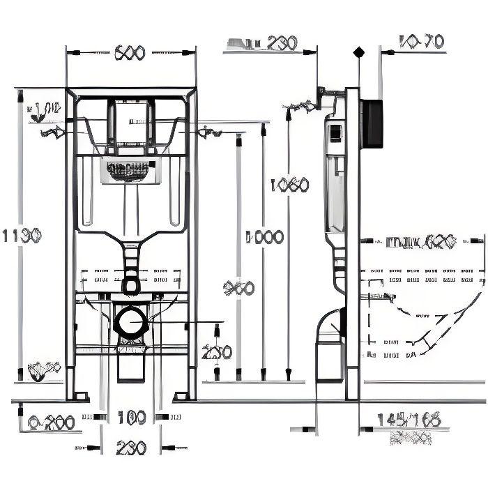 Grohe Structure//B/âti-Support pour Wc Suspendu Mur Porteur Ou Non-Porteur Rapid Sl 38587000 Blanc Import Allemagne