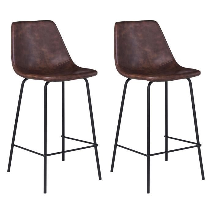Lot De 2 Tabourets Bar LUCIEN Marron