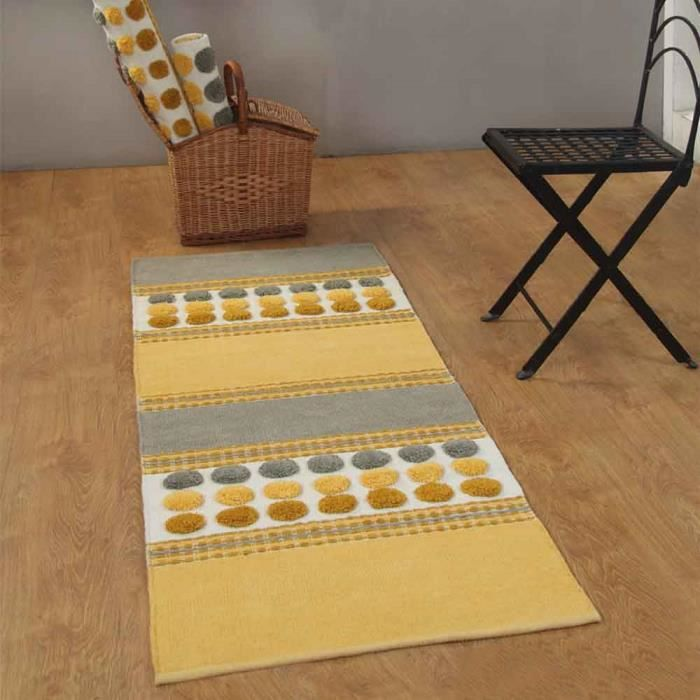 tapis cotton chenille motif cercles jaune moutarde 66 x 200cm achat vente tapis cdiscount. Black Bedroom Furniture Sets. Home Design Ideas