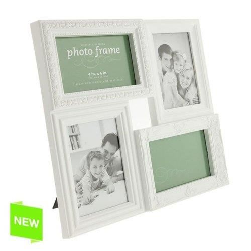 cadre photo multiple 4 photo blanc achat vente cadre photo cdiscount. Black Bedroom Furniture Sets. Home Design Ideas
